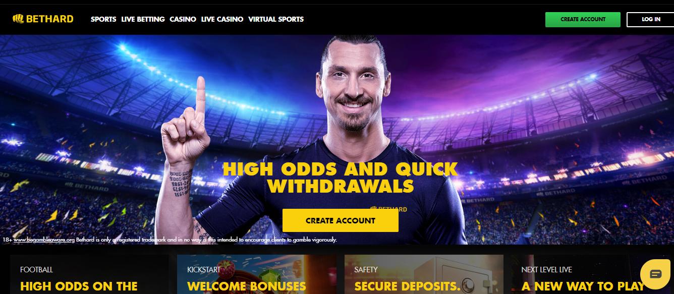 Bet Hard Sportsbook HomePage