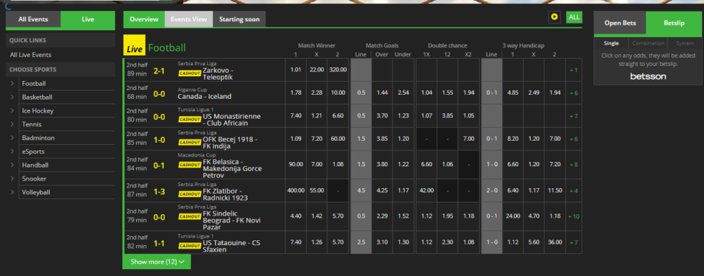 Betsson Betting In-Play