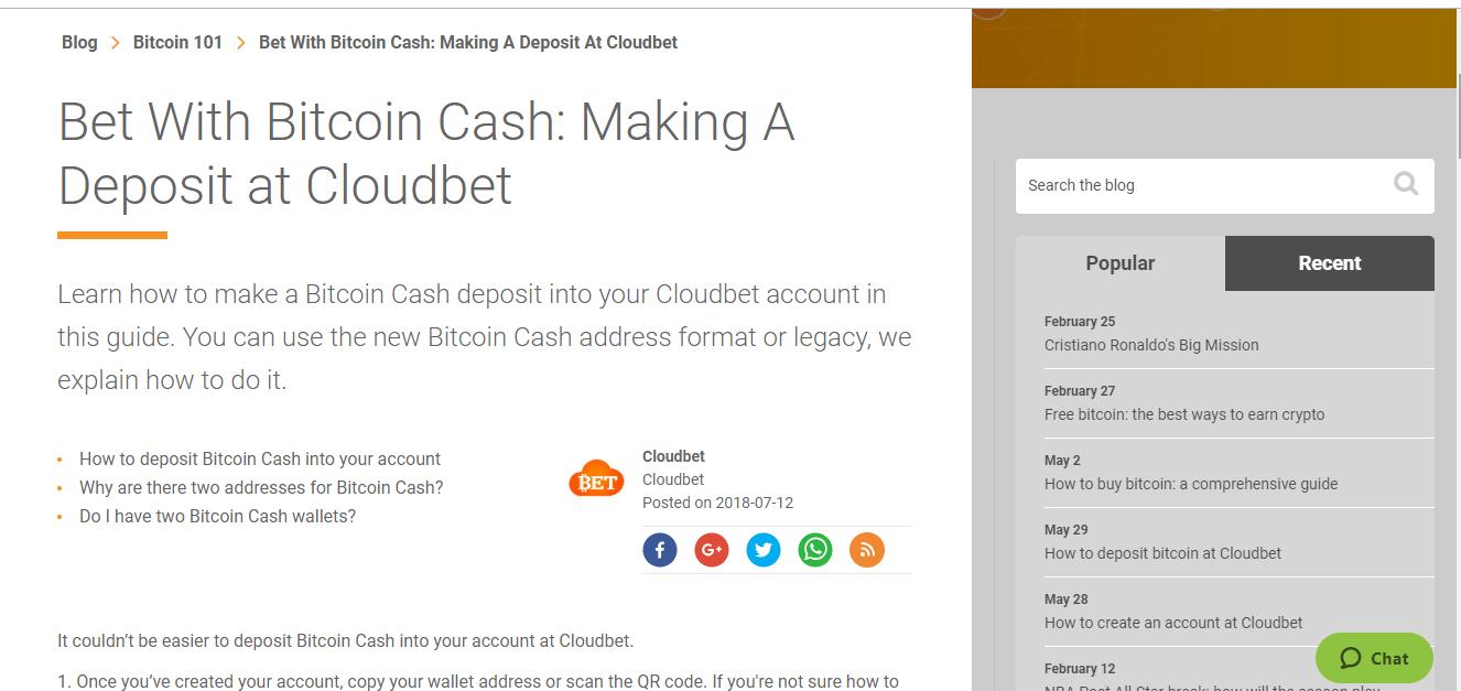 CloudBet Deposit Methods