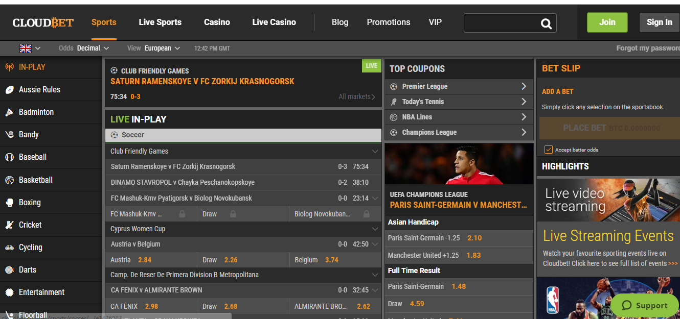 CloudBet Sports Betting Markets and Odds