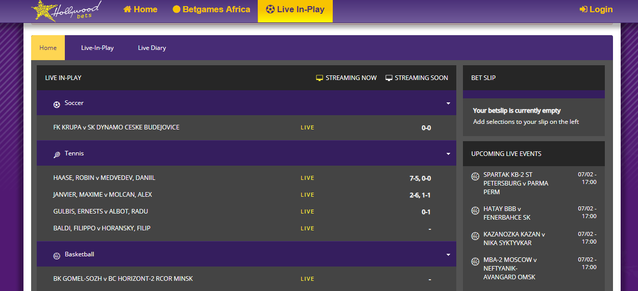 Betting In Play HollywoodBets Page