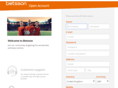 Betsson Online Sportsbook Review page
